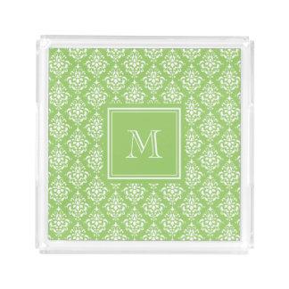 Green Damask Pattern 1 with Monogram Acrylic Tray