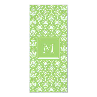 "Green Damask Pattern 1 with Monogram 4"" X 9.25"" Invitation Card"