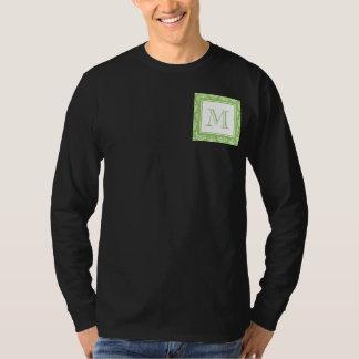 Green Damask Pattern 1 with Monogram T-Shirt