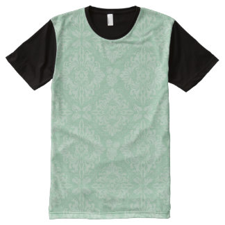 Green damask pattern All-Over print T-Shirt