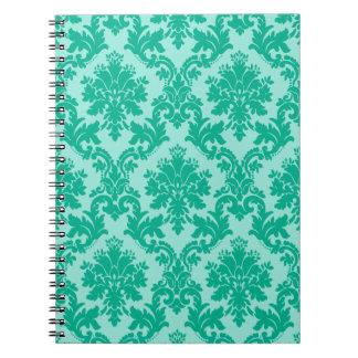 Green Damask Pattern Spiral Notebook