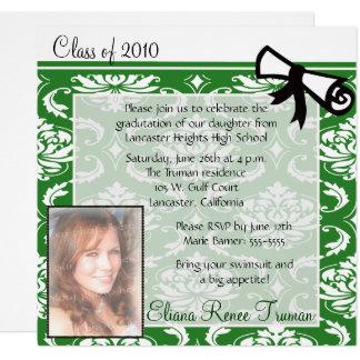Green Damask Photo Graduation Invitation