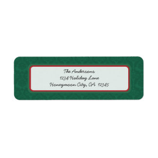 Green Damask Red Christmas Return Address Label