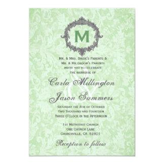 Green Damask Silver Vintage Frame Monogram Wedding Card