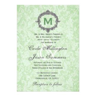 Green Damask Silver Vintage Frame Monogram Wedding Announcements