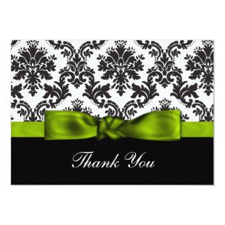 green damask ThankYou Cards 13 Cm X 18 Cm Invitation Card