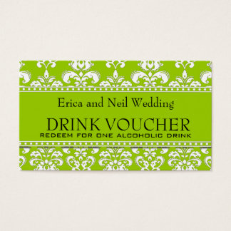 Green Damask Wedding Drink Voucher for Reception Business Card