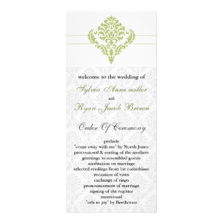 green damask Wedding program Rack Card Template
