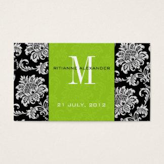 Green Damask Wedding Website Business Card
