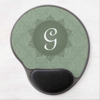 Green Damask with Initial Gel Mouse Pad