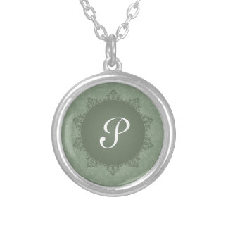 Green Damask with Initial Round Pendant Necklace