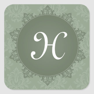 Green Damask with Initial Square Sticker