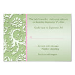 Green Damask with Pink Reply Card 9 Cm X 13 Cm Invitation Card