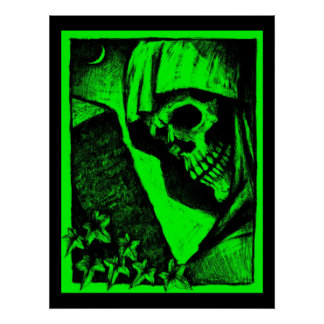 Green Death's Head Poster