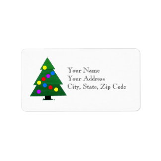 Green decorated Christmas tree Address Label
