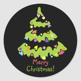 green decorated Christmas tree Round Sticker