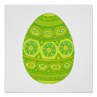 Green Decorated Egg Print