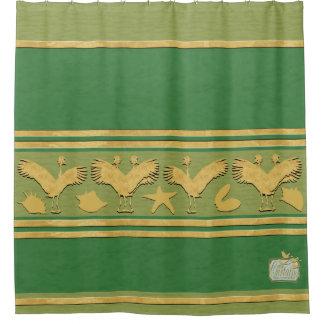 Green Decorative Gold Shells Cranes Shower Curtain