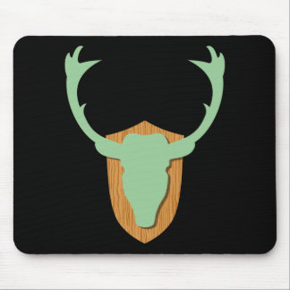 Green Deer Head Mouse Pad