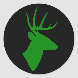 Green Deer Head Sticker