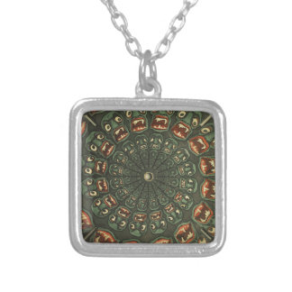 Green Demons Phenakistoscope Card Vintage Silver Plated Necklace
