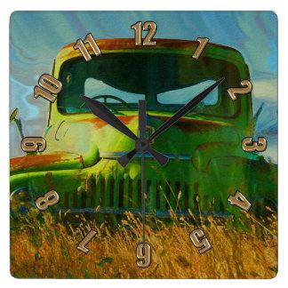 Green Derelict Farm Truck Wall Clock