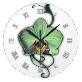 Green design orchid wall clock