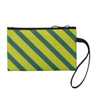 Green Diagonal Stripe Coin Wallet