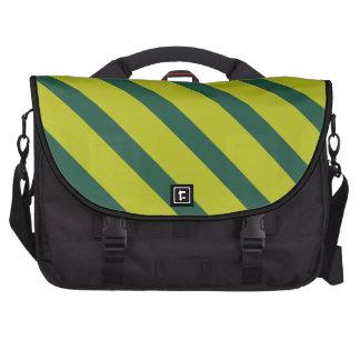 Green Diagonal Stripe Bag For Laptop