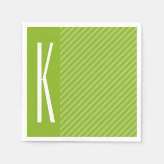 Green Diagonal Stripes Paper Napkin