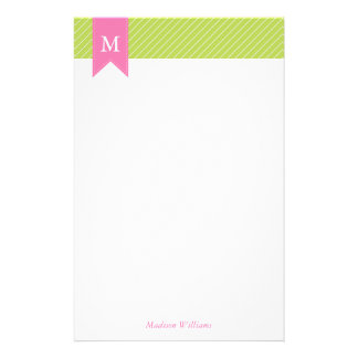 Green Diagonal Stripes Pattern and Pink Monogram Stationery