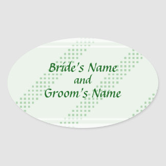 Green Diagonal Stripes Save the Date Stickers