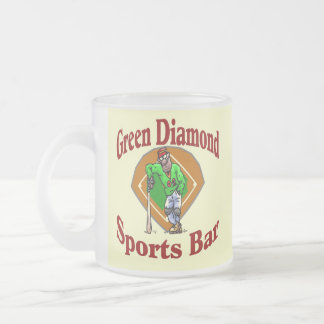 Green Diamon Sports Bar Frosted Glass Mug