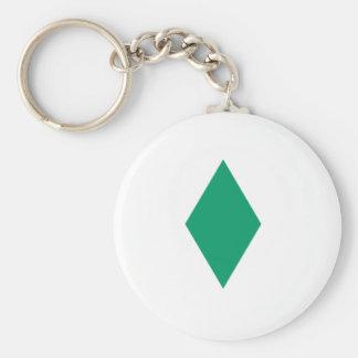 Green Diamond Basic Round Button Key Ring