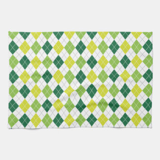 Green Diamonds Argyle Pattern Kitchen Towels