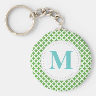 Green Diamonds Custom Monogram Basic Round Button Key Ring