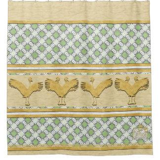 Green Diamonds Gold Cranes Shower Curtain
