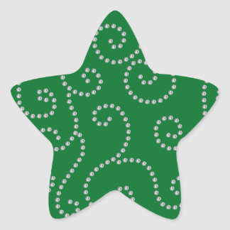 Green diamonds swirls star sticker