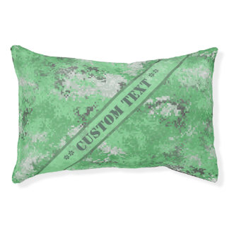 Green Digi Camo w/ Custom Text Pet Bed