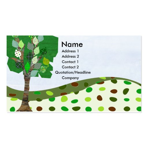 Green Digital Quilted Landscape Business Card Template