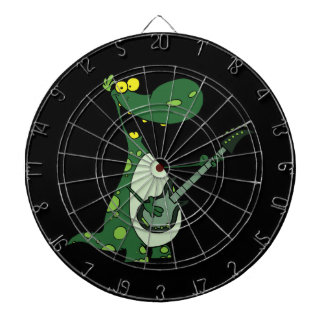 green dino holding guitar graphic dartboard