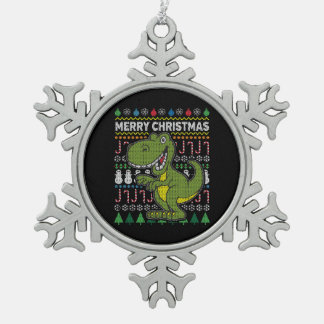 Green Dino Ugly Christmas Sweater Wildlife Series Snowflake Pewter Christmas Ornament