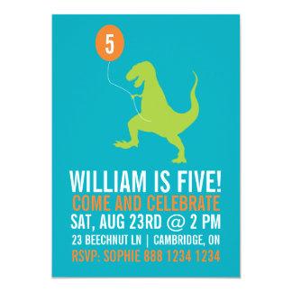 Green Dinosaur & Balloon Kids Birthday Party 13 Cm X 18 Cm Invitation Card