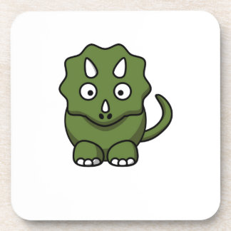 green dinosaur cartoon drink coaster