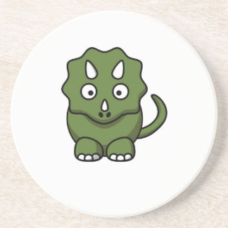 green dinosaur cartoon sandstone coaster
