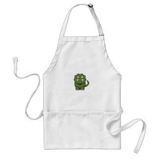 green dinosaur cartoon standard apron