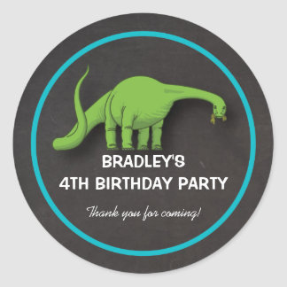 Green Dinosaur Chalkboard Birthday Boy Stickers