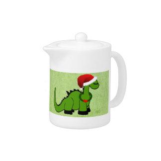 Green Dinosaur in a Santa Hat for Christmas