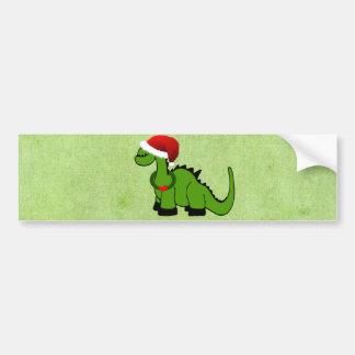 Green Dinosaur in a Santa Hat for Christmas Bumper Sticker