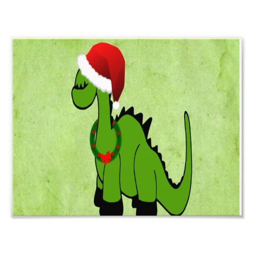 Green Dinosaur in a Santa Hat for Christmas Photo Art